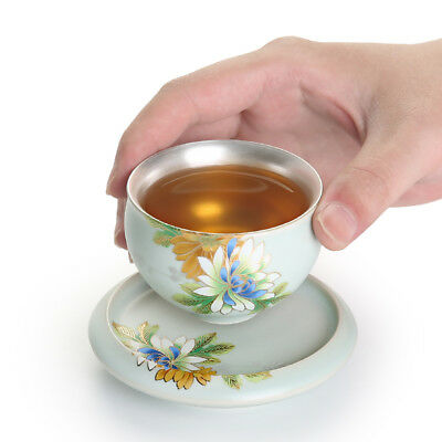 Health Care Pure Silver Inside Tea Cup Porcelain Ruyao Floral Design Tea Saucer Ebay
