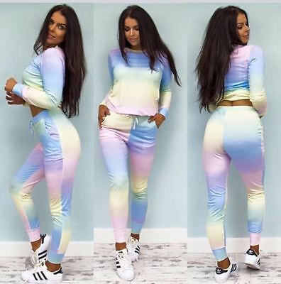 NEW WOMENS LADIES CELEBRITY INSPIRED RAINBOW MULTI COLOUR LOUNGE SET TRACK SUIT