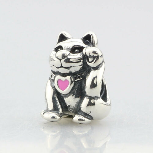 Beads Hunter Genuine .925 Sterling Silver Charm JewelLUCKY CAT pink enamel Charm