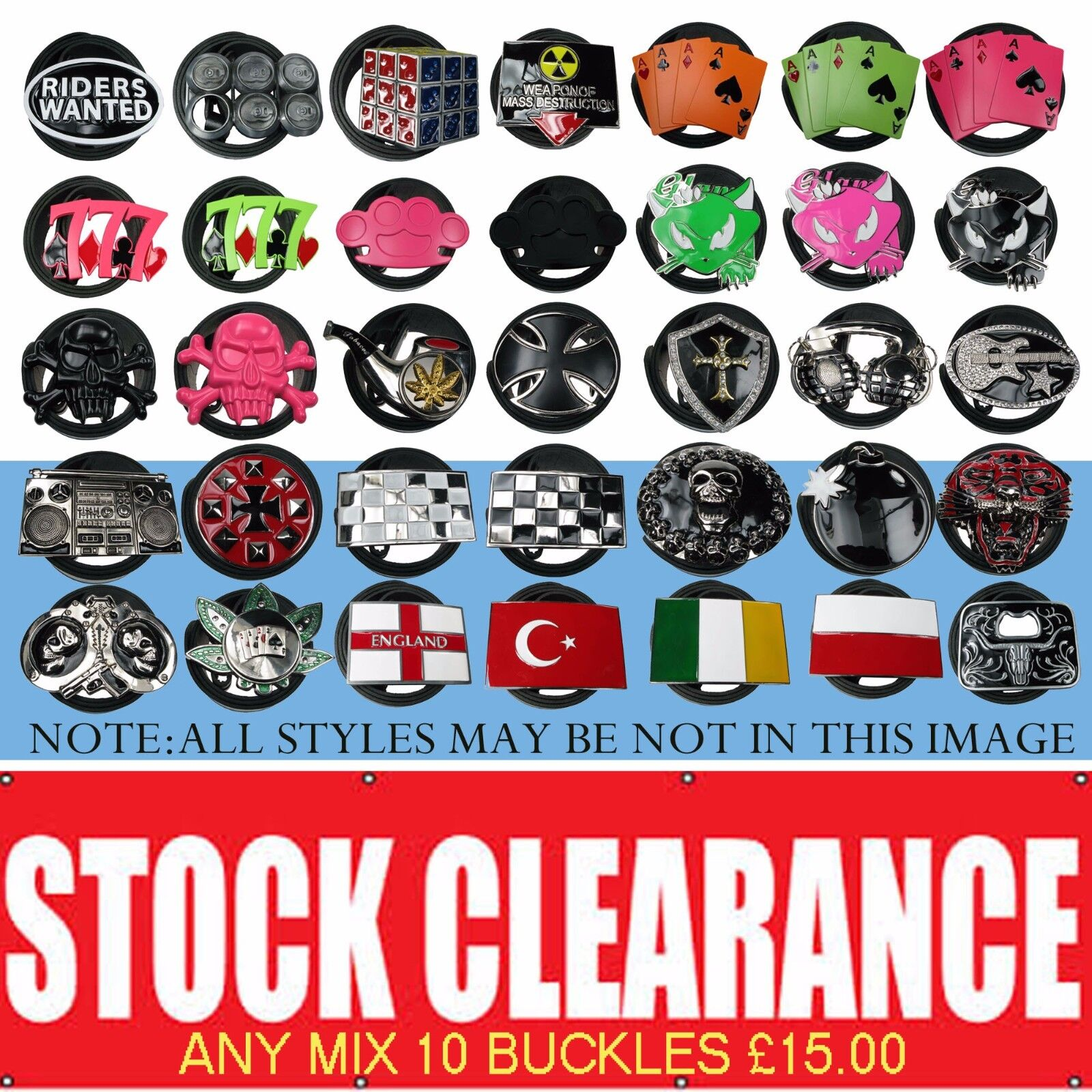 **SALE**SALE**SALE**MIX ANY 10 REMOVABLE BELT BUCKLE IN PUNK GOTHIC DESIGN