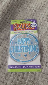 1 x Blue and silver Happy christening helium balloon prismatic foil decoration