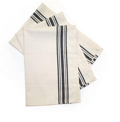 Vintage Style Kitchen Tea Towel MODA Aunt Martha Set 3 Black 2 Retro Stripe