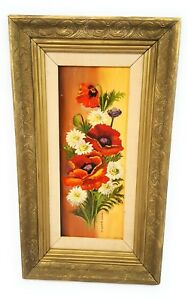 Hand-painted-Original-Oil-painting-Still-life-art-flowers-On-Wood-signed