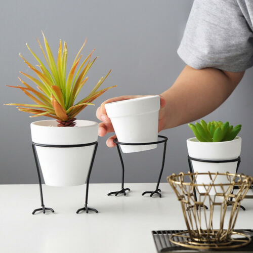 Ceramics Flower Pot Pottery Plant Potted Desktop Decoration With Iron Frame