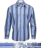 Zagiri Kms-2206 Come Together Men's Button Up Shirt Blue Stripe $165 Sz L