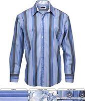 Zagiri Kms-2206 Come Together Men's Button Up Shirt Blue Stripe $165 Sz L