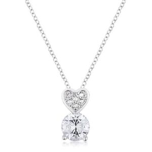 18K-White-Gold-GB-Solitaire-Simulated-Diamond-Heart-Drop-Necklace-20-034-Inches-G95
