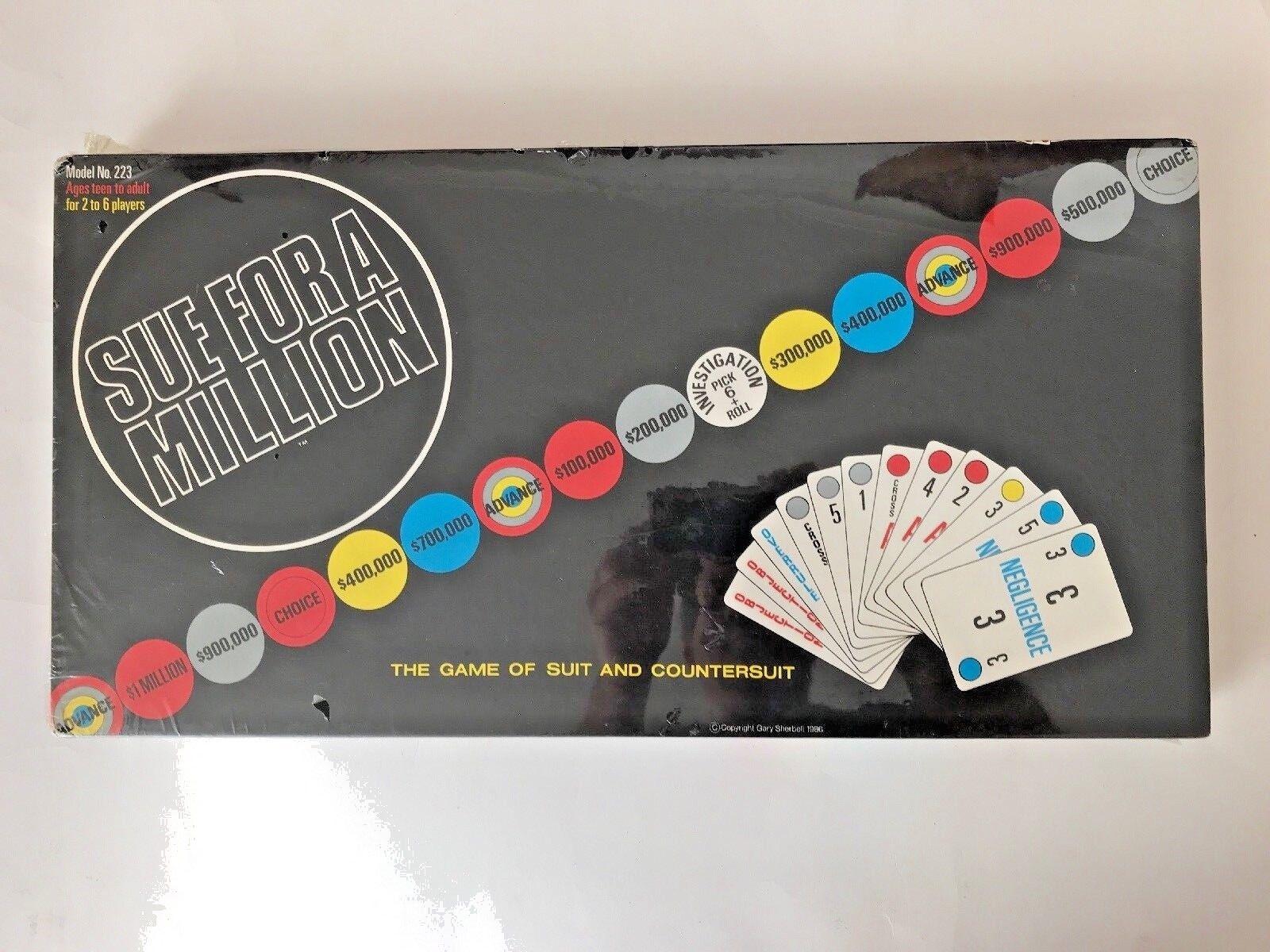 Sue pour un million Laurad Games 1986 jamais joué de nouveau dans boîte scellée vintage
