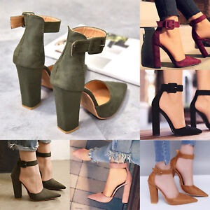 New-Womens-Summer-Point-Toe-High-Block-Heels-Sandals-Ankle-Strap-Pump-Shoes-Size