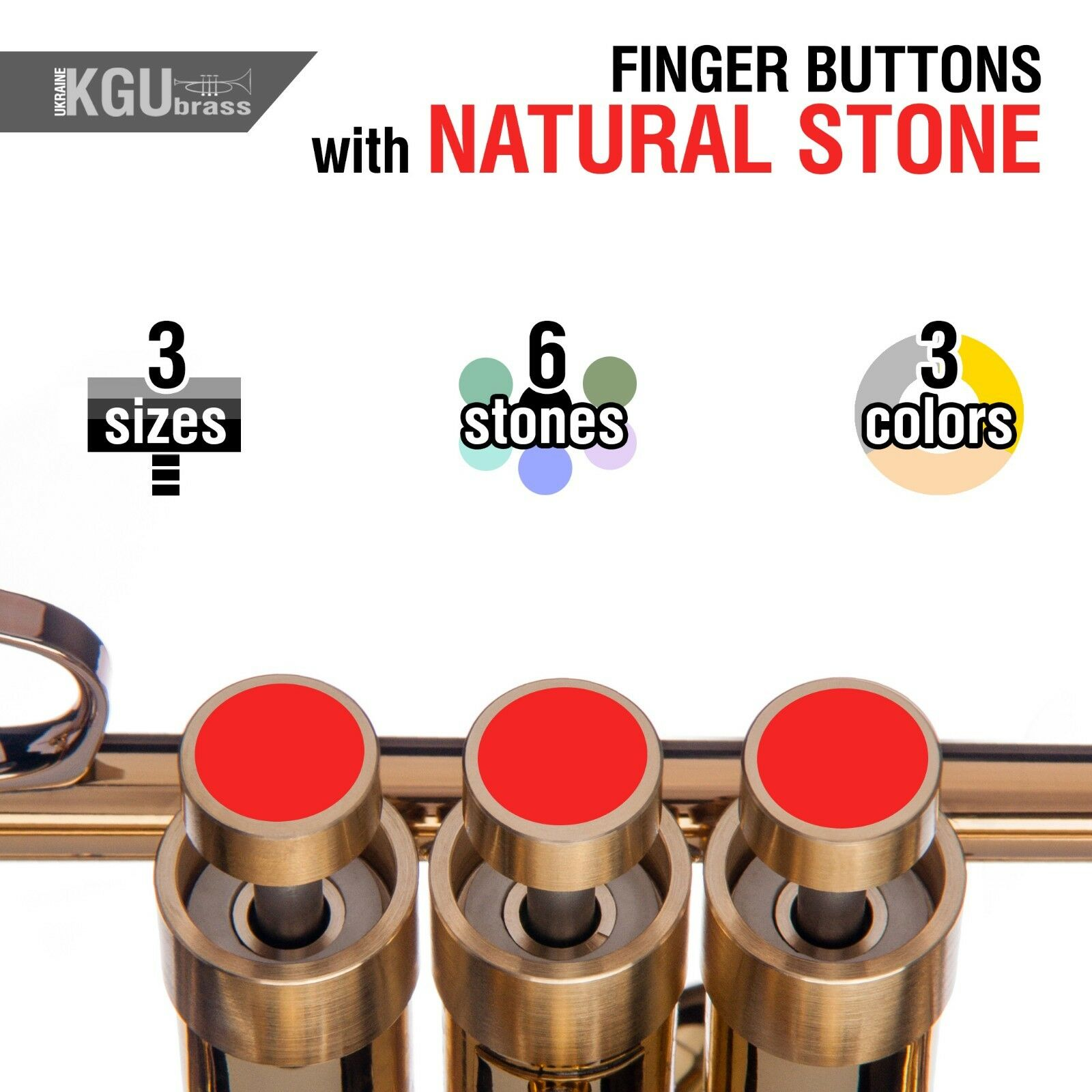 Trumpet Finger Buttons w. Natural Stone inlays. KGUBrass. HEAVY, MEDIUM, LIGHT.