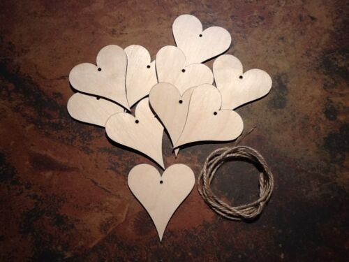 10x Wooden Birch Hearts Shapes Embellishments or Craft 80mm x 70mm with twine