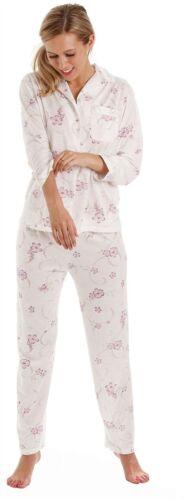 Womens Lady Olga Long Sleeve Jersey Polycotton Floral Pyjamas Pjs Nightwear