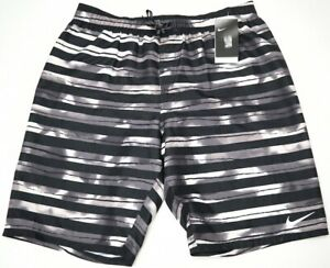 NWT-58-Nike-Swim-Suit-Trunks-Mens-Board-Shorts-Water-Repellent-Black-Striped