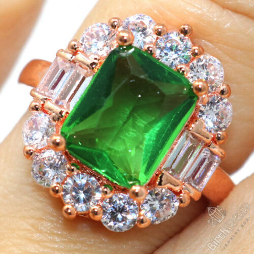 Details about  /3Ct Emerald Cut Green Emerald CZ Halo Ring Women Jewelry 14K Rose Gold Plated