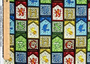 FAT-QUARTER-HARRY-POTTER-FABRIC-STAINED-GLASS-HOUSES-CRESTS-CAMELOT-COTTONS-FQ