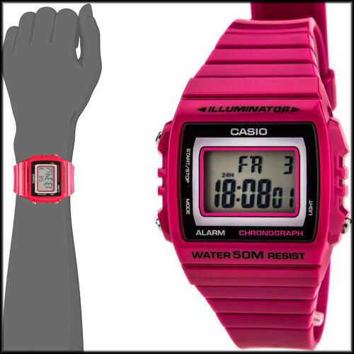 1 of 1 - Casio Unisex W-215H-4AV Classic Pink Red Digital Watch 50M WR LED Light New