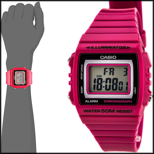 Casio Unisex W-215H-4AV Classic Pink Red Digital Watch 50M WR LED Light New