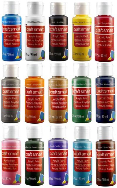Craft Smart Acrylic Paint Lot 15 2 Fl. Oz Bottles Paint Set Art Supplies