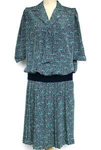 Vintage-Berkertex-Vestido-80s-Negro-Verde-Floral-Plisado-Falda-con-Cintura-Caida-Midi-12-14
