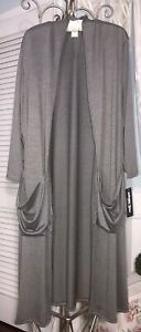 NEW Plus Size 3X Gray Open Long Cardigan Duster Maxi Topper