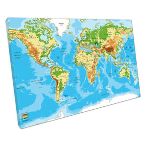 Blue Green Yellow detailed World map of cities countries Oceans ...