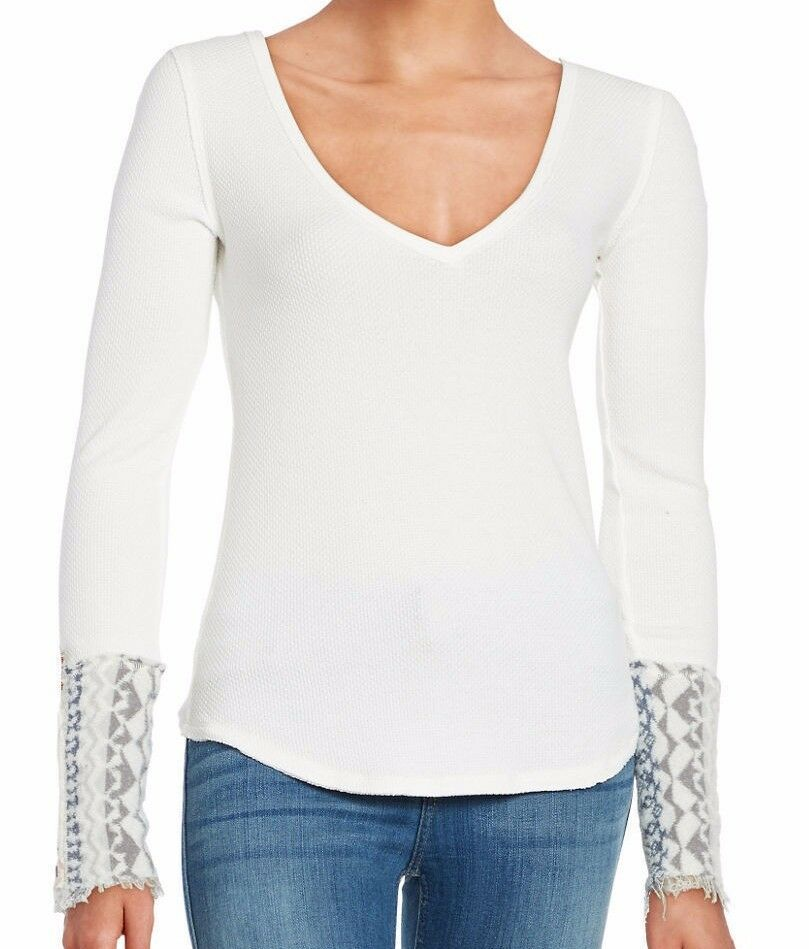 Free People OB536631 IVORY Art School Embroiderot L S V-Neck Thermal Waffle Top