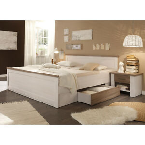 bettanlage luca landhaus bett nachtkommode doppelbett in pinie wei ebay. Black Bedroom Furniture Sets. Home Design Ideas