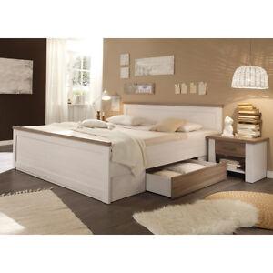 Das Bild Wird Geladen Bettanlage Luca Landhaus Bett  Nachtkommode Doppelbett In Pinie