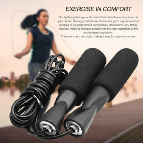 Aerobic Exercise Boxing Skipping Jump Rope Adjustable Bearing Speed Fitness Blac