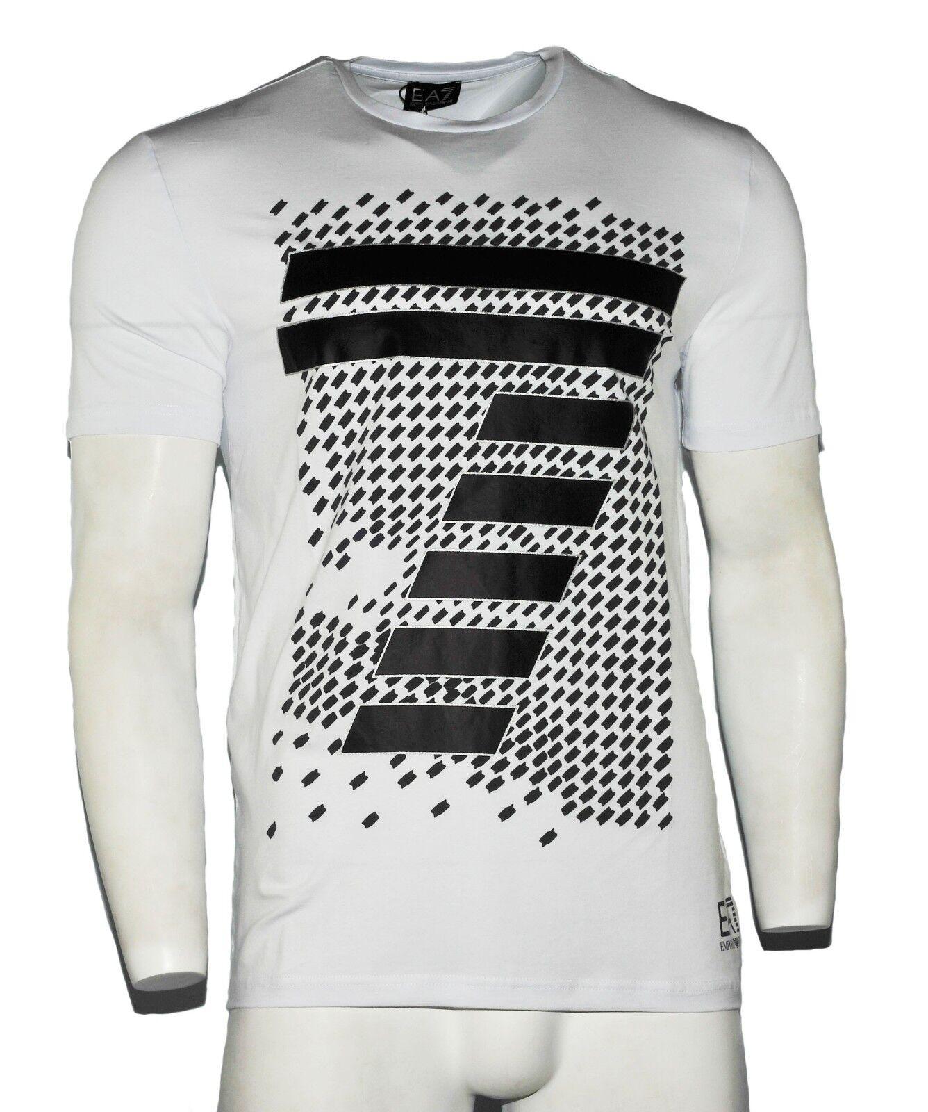 Herren Armani Jeans T-Shirt Mode Muster Rundhals Weiß Größe S M L XL XXL