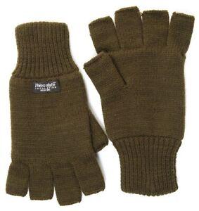 Mens fingerless gloves olive shooting fishing green