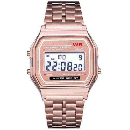 ASAMO Herren Damen Digital Armbanduhr Metall Armband LED Quartz Retro Uhr AMA058