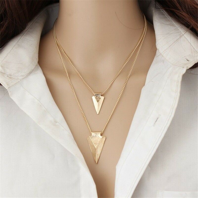 High Gloss Gold Plated Two Layer One Direction Arrow Pendant Statement Necklace