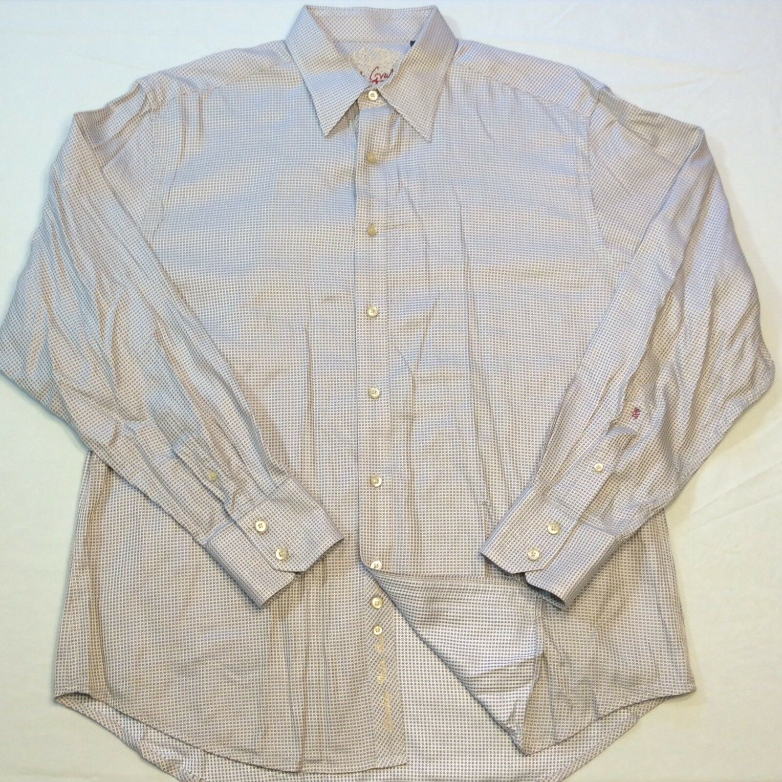 Robert Graham bluee White Print Long Sleeve Cotton Button Shirt Men's XL