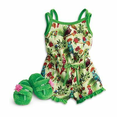 "American Girl Lea/'s Rain Forest Dreams Pajamas for 18/"" Dolls Romper Slippers NIB"