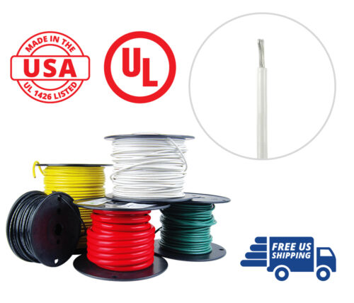 10 AWG Marine Wire Spool Tinned Copper Primary Boat Cable 100 ft White USA Made