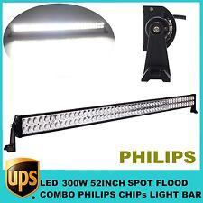 """52"""" 300W PHILIPS LED Work Light Bar S/F COMBO Off-roads Fog 4X4 Truck JEEP 9-32V"""