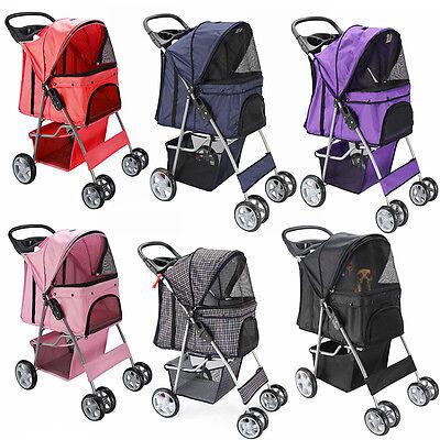 OxGord Pet Stroller Cat Dog 4 Wheeler Easy Walk Stroller Travel Folding Carrier