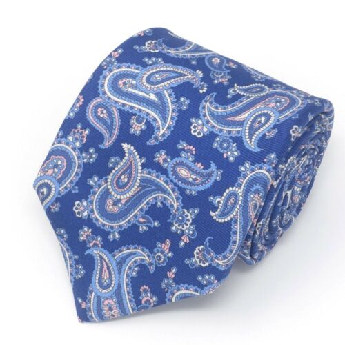 New $225 ISAIA NAPOLI 7-Fold 100/% Silk Twill Handmade Self-Tipped Unlined Tie