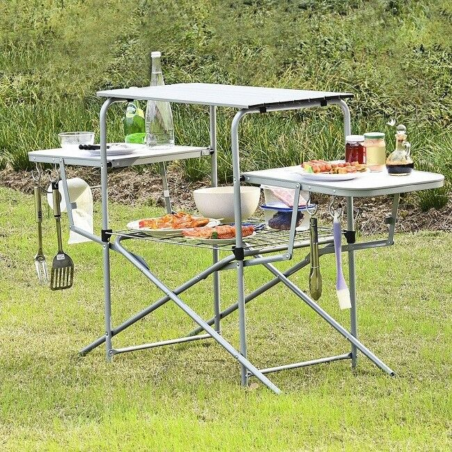 Portable Grilling Stand Folding Outdoor Side Table Camping BBQ Kitchen Cooking