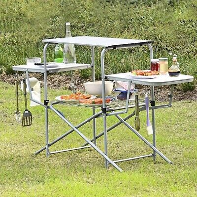 Bbq Side Table.Portable Grilling Stand Folding Outdoor Side Table Camping Bbq Kitchen Cooking 740599761318 Ebay