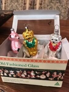 Details About 3 Bears Old Fashioned Glass Christmas Ornament Bavaria West Germany Coburg