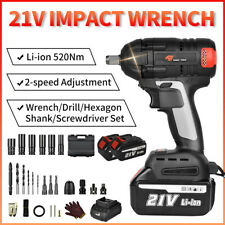 12 520nm 21v Electric Cordless Impact Wrench Gun Drive Drill 2 Battery Tool
