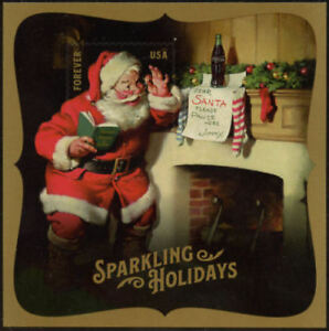 Sparkling-Santa-Souvenir-Sheet-Jumbo-Forever-Stamp-FREE-amp-RAPID-S-H-Mint-Sheet