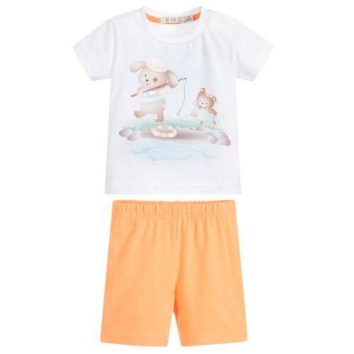 EMC 2 tlg T-Shirt /& Shorts Baby Jungen Teddy Maritim Weiß Gr 74 80 NeU