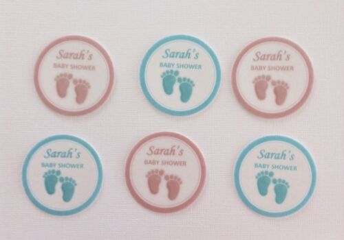12 PRE CUT PERSONALISED EDIBLE RICE WAFER PAPER CARD BABY SHOWER CUPCAKE TOPPER