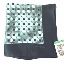 NWT $100 Ermenegildo Zegna Men's Emerald Green Printed Silk Pocket Square AUTH