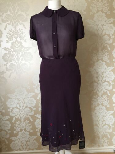 Taille Jupe Edina Blouse Pure Ronay Bnwt 10 New Soie Designer Purple XRYqaw0Y