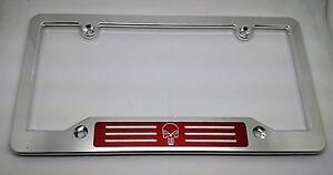 BILLET ALUMINUM LICENSE PLATE FRAME PUNISHER CSP RED Badge