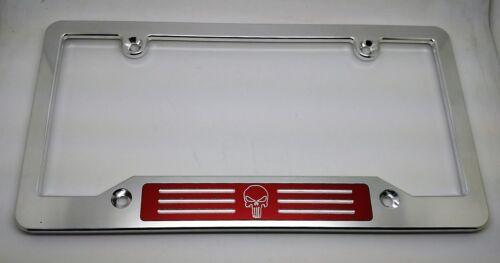 BILLET ALUMINUM LICENSE PLATE FRAME CSP RED Badge PUNISHER